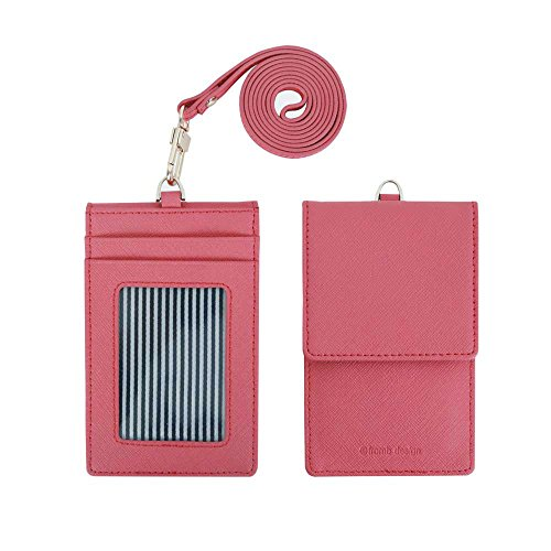 Genuine Leather Credit Card Holder Wallet with Mirror ID Badge Case with Neck Strap Indi Pink