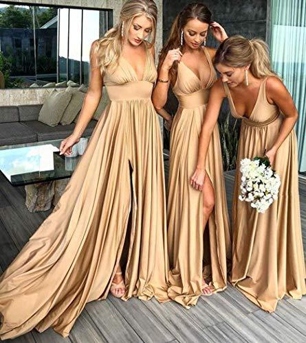 Silt Dress Formal Neck Bridesmaid V Backless MARSEN Waist Women Empire Gown Prom 2018 Coral 5w7q0x