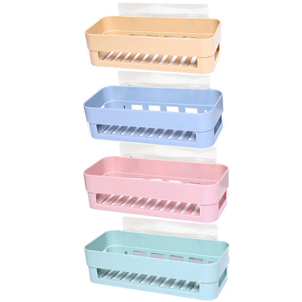 4 Pieces Multipurpose Self-Adhesive Bathroom Shelf Kitchen Storage Holder Box Organizer Basket Wall Mounted for Home Decor Bathroom Kitchen Multicolor