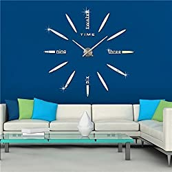 Elikeable Modern 3D Frameless Large 3D DIY Wall Clock Watches Hours DIY Decorations Home for Living Room Bedroom (silver5)