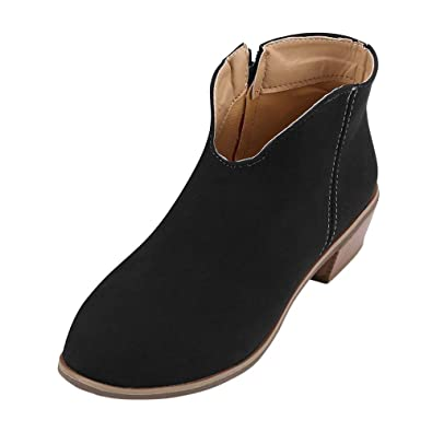 OrchidAmor Retro Women Square Heel Solid Color Suede Boots Zipper Boots  Round Toe Shoes Black 3ba7635a9