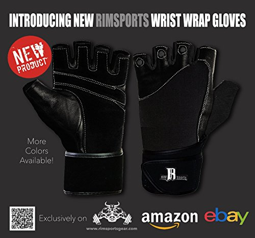 RIMSports Gym Gloves for Powerlifting Cross Weight Training Biking Cycling - Premium Quality Weights Lifting Gloves w/Washable for Callus and Blister Protection Black S