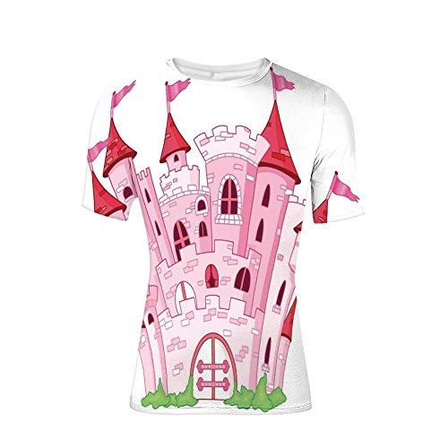 (T-Shirt Short Sleeves,Fairy Tale Princess Magic Kingdom Cartoon,Mens Cool 3D Print)