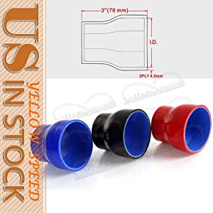 """2"""" to 2 1/2"""" Straight Reducer Silicone Turbo Hose Coupler 51mm - 63mm BLACK"""
