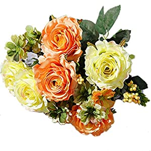 dezirZJjx Artificial Flowers 1Pc Artificial Rose Flower Fake Plant for Garden Party Decor DIY Bridal Bouquet - Orange 47