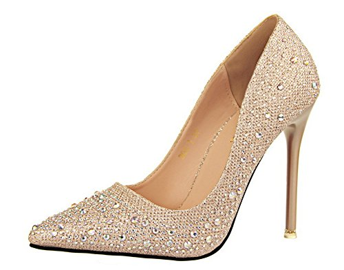 No.66 Town Women's Stiletto Heel Wedding Pumps Court Shoes Gold