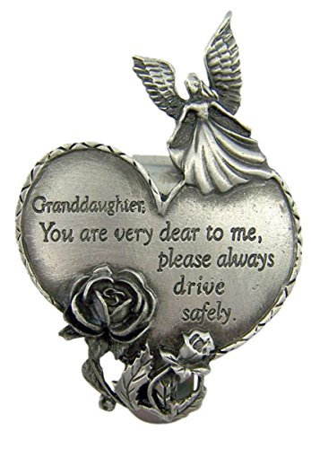 Fine Pewter Grandaughter Drive Safely Guardian Angel Heart Visor Clip, 2 3/4 Inch