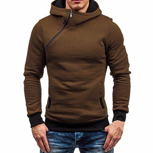 Ximandi Clearance,Men's Solid High Zipper Collar Hoodies w Button Pockets Hooded -