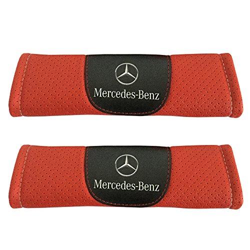 Jimat 2pcs Mercedes Benz Logo Leather Car Seat Safety Belt Strap Covers Orange Color Shoulder Pad Accessories Fit For Mercedes GLC-class GLE-class GLS-class Metris S-class SL-class SLC-class Sprinter