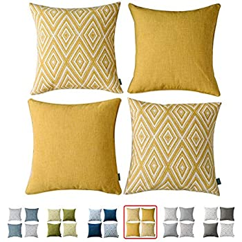 Strange Hpuk Plaid Polyester Decorative Pillow Covers Throw Pillows Covers Couch Pillowcase Cushion Cover Couch 17X17 With 4 Pcs Ochre Golden Inzonedesignstudio Interior Chair Design Inzonedesignstudiocom