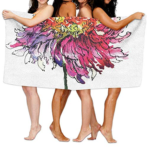 (Haixia Ultra Soft Bath Towels Watercolor Chrysanthemum Flower Illustration Friendship Well Being Honoring Loved Ones Decorative)