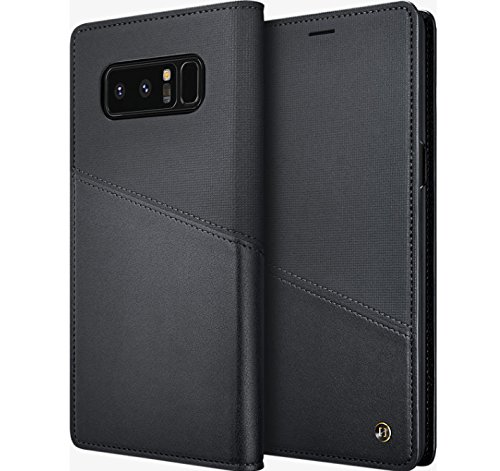 (Granite Leather Flip Wallet Cover Protective Case For Samsung Galaxy Note 8 - Black Retail Packaging)