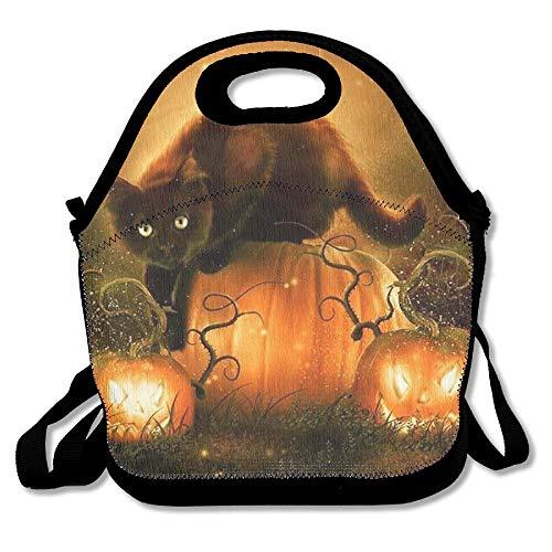 (Insulated Neoprene Lunch Bag/Lunch Box/Lunch Tote/Picnic Bags Cooler Warm Pouch Lightweight Handbag Gourmet Food Containers for Women, Men,Girls, Boys,Teens,Kids - Halloween Pumpkin Bat)