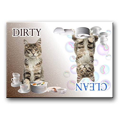 clean dirty dishwasher magnet cat - 6