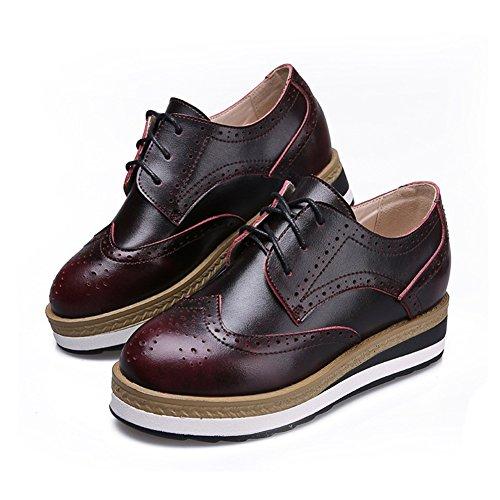 Giy Femmes Mode Sneaker Fond Épais Augmenté Hauteur Plate-forme Casual Brogue Wedge Chaussures Rouge