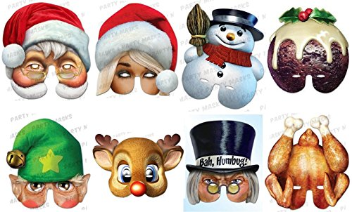 Christmas Ultimate 8 Mask Pack - Santa, Mrs Claus, Snowman, Xmas Pudding, Elf, Rudolph, Scrooge and (Christmas Masks)