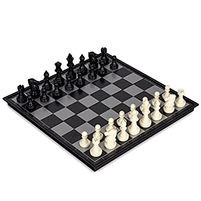GZNIGHT 2 in 1 Travel Magnetic Chess and Checkers Game Set - 12.5 Inches