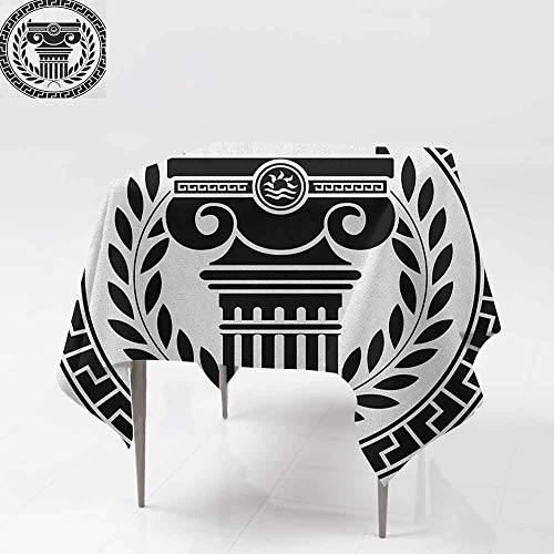 Washable Square Tablecloth,Toga Party,Hellenic Column and Laurel Wreath Heraldic Symbol with Olive Branch Graphic,Party Decorations Table Cover Cloth,50x50 Inch Black White