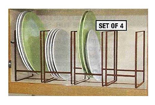 Plate Organizer - Trenton Gifts Plate Shelf Organizer | Space Saver | Set of 4 Large Organizers | Bronze