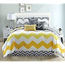 11-Piece Oversize Zigzag Designer Nautical Anchor Comforter Set (California) Cal King Size Bed In A Bag with Sheets and Decorative Pillows (Yellow, Grey, White)