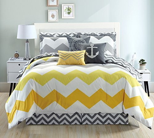 11-Piece Oversize CHEVRON ZIGZAG Designer Nautical Anchor Comforter Set King Size Bed In A Bag with Sheets and Decorative Pillows (Yellow, Grey, White) (Nautical Comforter Sets)