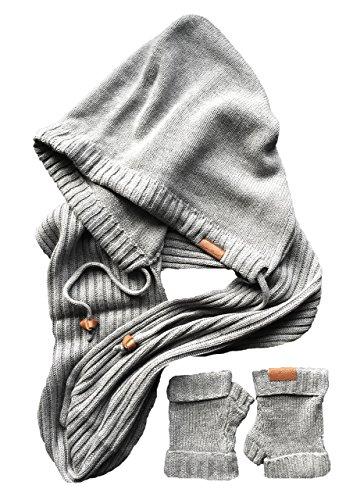 (ローラ?アリソン) Laura Alison フード付きインフィニティスカーフと指なし手袋ギフトセット グレー (Grey Melange)