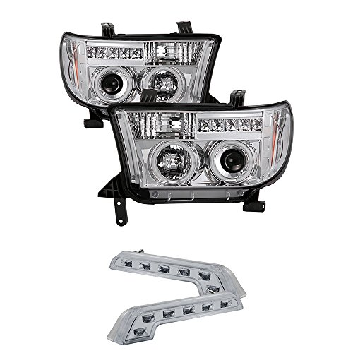 for 2008-2012 TOYOTA SEQUOIA DUAL CCFL HALO HEADLIGHTS Projector + LED FOG LAMPS
