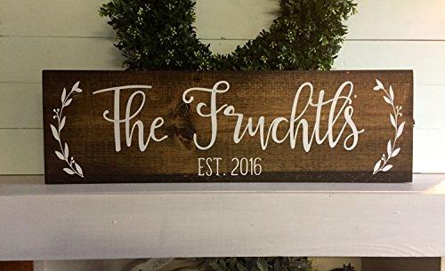 PotteLove Last Name Sign, Family Sign, Family Name Sign, Wedding Gift, Established Wood Sign, Rustic Name Sign, Wooden Sign, Rustic Family Sign]()