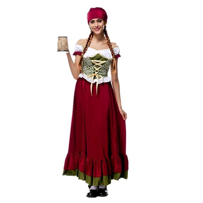 Disfraz de Bavara Mujer Traje Tradicional de Oktoberfest Criada Cosplay  suit para Halloween Carnaval Bar  Amazon.es  Ropa y accesorios 9432d6ffc96