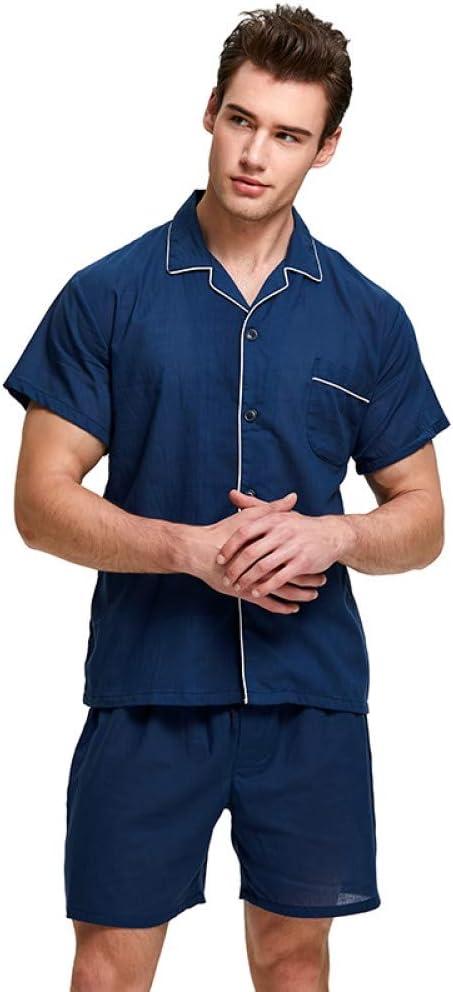 HIUGHJ Pijamas Pijamas para Hombres Ropa de Dormir 100% Algodón para Hombres Ropa de Dormir de Manga Larga Salón de Dormir Casual para Hombre Camisón Pijama Suave Conjunto