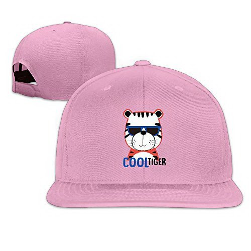 Unoopler Cool Tiger Sunglasses Snapback Hip Hop Flat Bill Baseball Caps for Men Women Pink