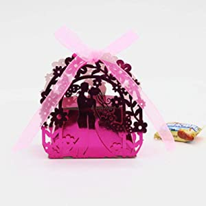 N/L Bride and Groom Gift Box Wedding Favors and Gifts Candy Box Wedding Gift Box Wedding Favor Box For Candy 50pcs 50pcs Rose