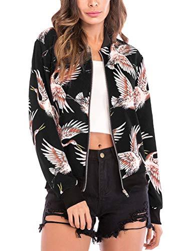 Baseball Winter Bomber Coat Black Print Sport Sleeve Blouse Womens Crane ShallGood Long Coat Fashion Outwear Print Jacket Zipper Jacket Jacket Cardigan Bird Autumn Floral qwnpZUFv