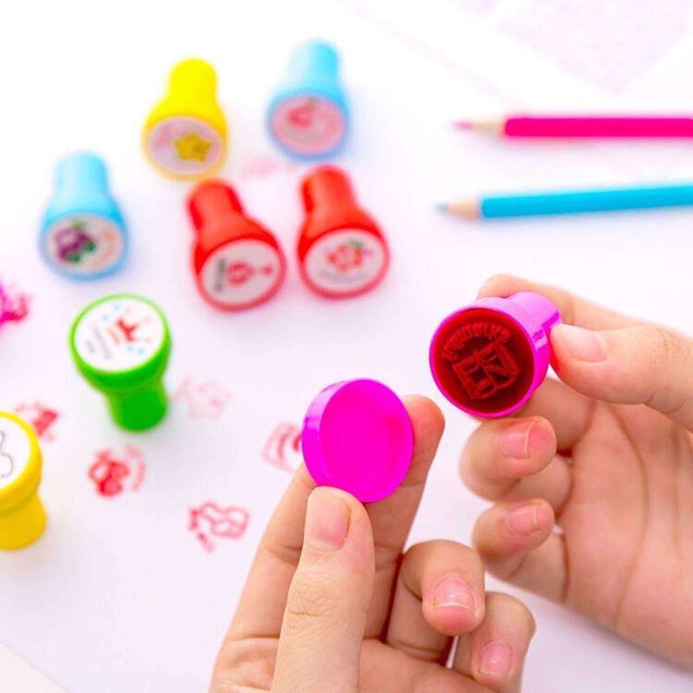 Stempel Kinder,10 St/ück Kinder Briefmarken Lehrer-Stempel f/ür Schulnoten Hausaufgaben-Auszeichnungspapiere Klassenzimmerpreise