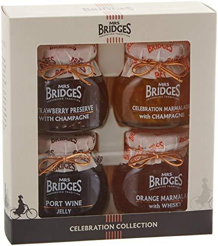Mrs Bridges Celebration Collection Gift Box, 4 Ounce Jars (Strawberry Preserve, Port Wine Jelly, Celebration Marmalade, Orange Marmalade with Whisky)