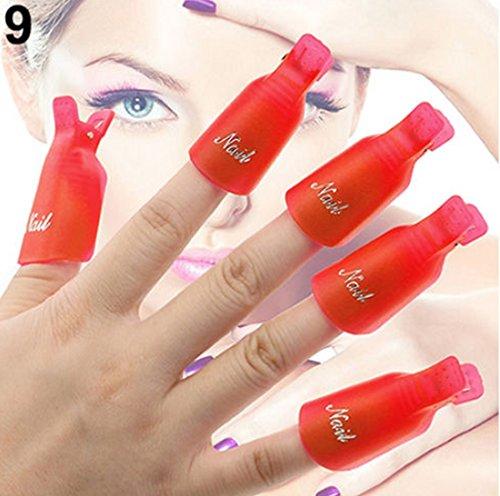 10 Pcs Pleasing Popular Plastic Nail Art Clip Cap DIY Peel Tips Manicure Stylish Gel Remover Colors Red