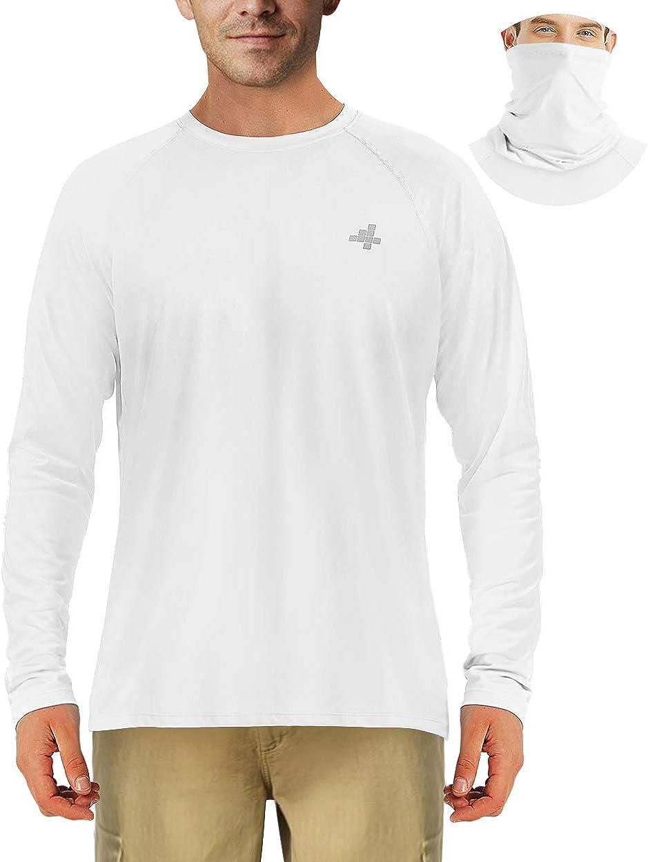 Fishing Shirts for Men Sun Protection Outdoor Long Sleeve T-Shirt Hiking UPF 50+ UV Neck Masks