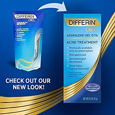 Differin Adapalene Gel 0.1% Acne Treatment, 45 gram, 180-day supply (Pack of 2)