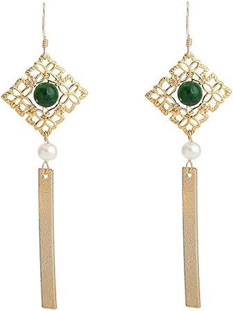Minbao Custom New 14k Gold Injection Natural Pearl Hollow Pattern Jade Earrings Diamond Earrings Amazon De Kuche Haushalt