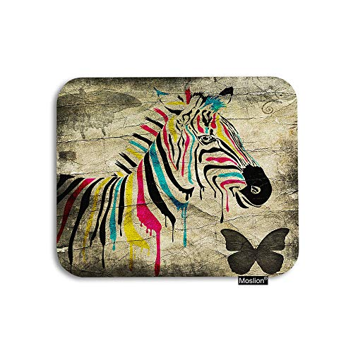 (Moslion Zebra Mouse Pad Vintage Rainbow Color Striped Zebra Butterfly on Retro Wall Gaming Mouse Pad Rubber Large Mousepad for Computer Desk Laptop Office Work 7.9x9.5 Inch Brown)