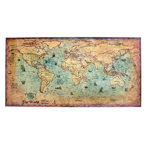 Home & Office Wall Decorative Poster, Vintage Style World Map, Unframed (13, - Nautical Antique Prints