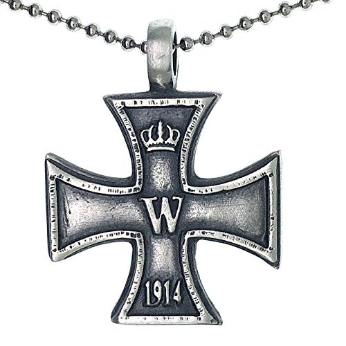 Ohdeal4U Replica 1914 Cross WWII Medal Amulet Charm Silver Pewter Pendant Necklace