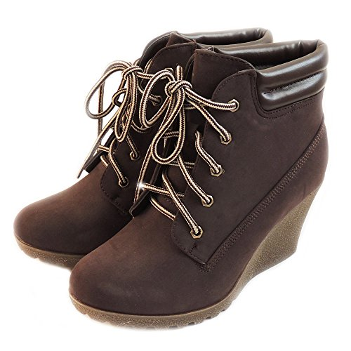 Reneeze New Women Fashion Platform Wedge Ankle Boots Military Combat Style Shoes/Brown Cherry-3 (8)