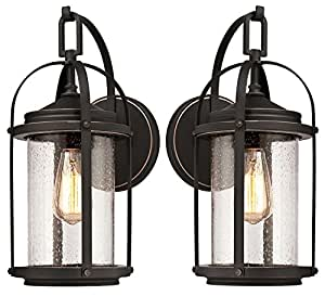 One-Light Outdoor Wall Fixture, Oil Rubbed Bronze Finish with Highlights and Clear Seeded Glass (2-Wall Fixtures)
