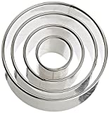 Ateco 4 Pieces Plain Round Cutter Set Cookie Biscuit Cutter Shaped Molds 1440