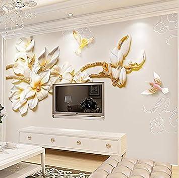 ATR Wandbild Tapete Juwelen Prägung Stereo Einfache Magnolia ...