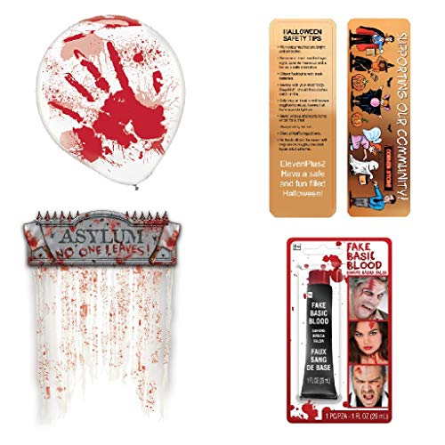 Halloween Scary Asylum, Blood Spatter Party Kit: Includes Bloody Balloons, a Bloody Doorway Curtain, A 1 Ounce Tube of Fake Blood and an Exclusive ElevenPlus2 Halloween Safety Bookmark ()