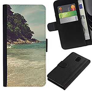 All Phone Most Case / Oferta Especial Cáscara Funda de cuero Monedero Cubierta de proteccion Caso / Wallet Case for Samsung Galaxy Note 3 III // Island Beach Sea Wave
