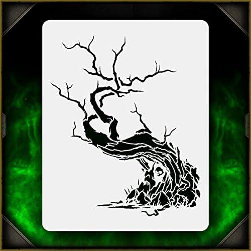 Creepy Tree 1 AirSick Airbrush Stencil Template