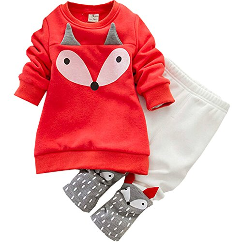 ODFAPP Adorable Autumn winter Baby Girls Clothing set Lovely Children's Clothing 2PCS Thick Long Sleeve Fox Tops + Pant Sets red12M - Mall Lubbock